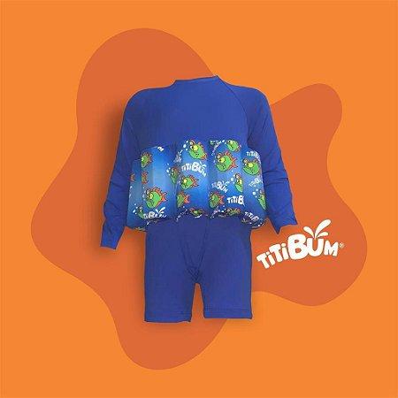 Body flutuante - azul peixe lanterna - com manga UV - menino