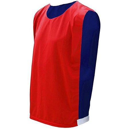 Colete de Futebol Dupla Face Vermelho com Azul Royal