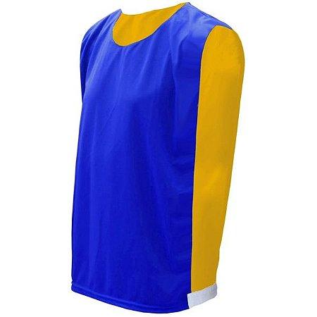 Colete de Futebol Dupla Face Azul Royal com Amarelo