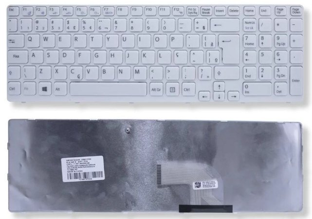 Teclado Sony Vaio Sve15 Sve151j11x Branco C/ Moldura Abnt2