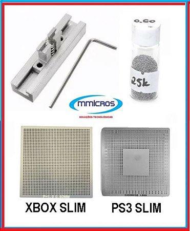 Suporte Reballing + Stencil Xbox E Ps3 Slim + Esfera 0,60 (KIT REBALLING GAMES)