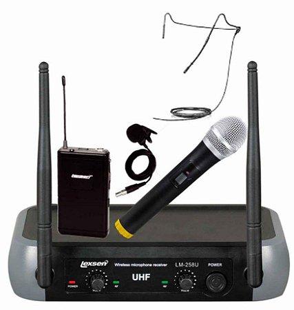 Microfone Sem Fio LM-258U Kit Lexsen UHF 2 Canais Frequência Fixa