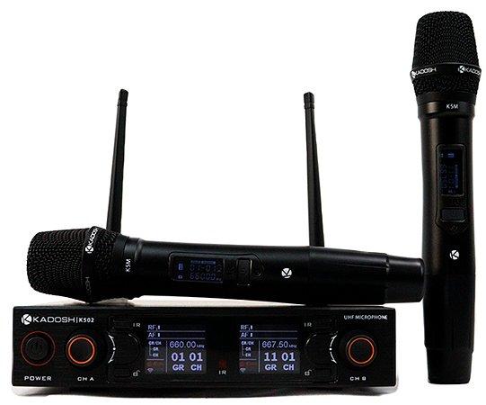 Sistema de Microfone Sem Fio Uhf Duplo com 2 bastões Kadosh K502M - Original