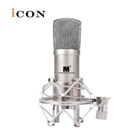 Microfone Condensador Pro Studio Cardióide (Shock Mount e Case) M1 - ICON