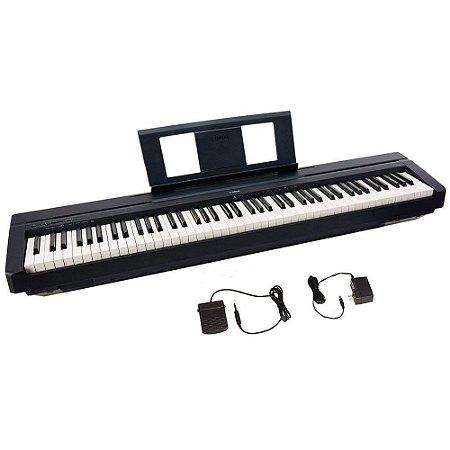 PIANO DIGITAL YAMAHA P45 + fonte + pedal + porta partitura. Original 1 ano de garantia