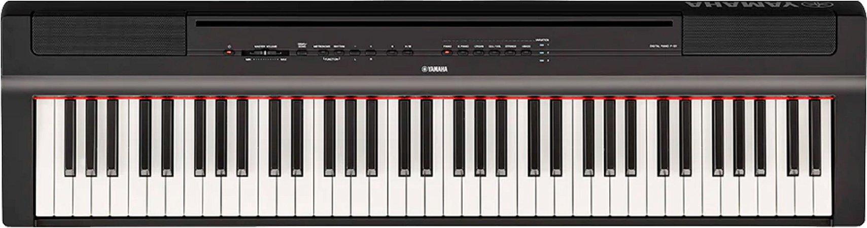 PIANO DIGITAL YAMAHA P121 + FONTE + PEDAL + PORTA PARTITURA. ORIGINAL 1 ANO DE GARANTIA
