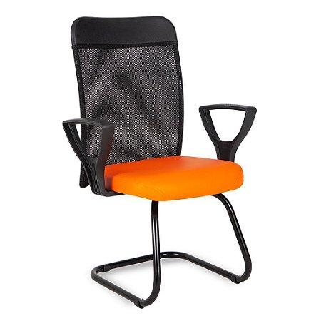 Cadeira Interlocutor com Tela no Encosto Linha Turim Laranja