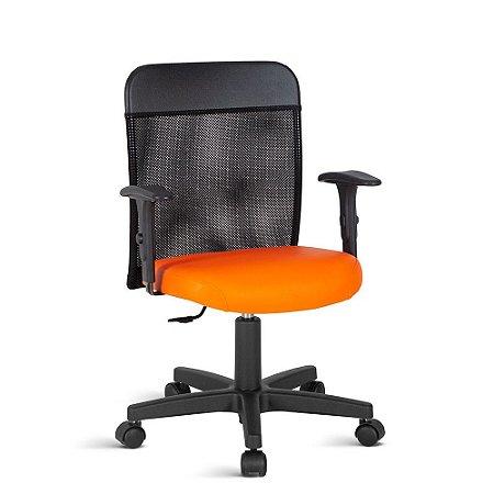 Cadeira Executiva com Tela no Encosto Linha Turim Laranja