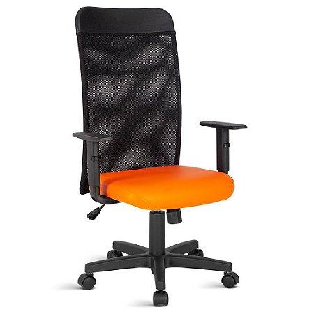 Cadeira Presidente com Tela no Encosto Linha Turim Laranja
