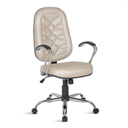 Cadeira Presidente para Escritório c/costura Linha Bari Bege