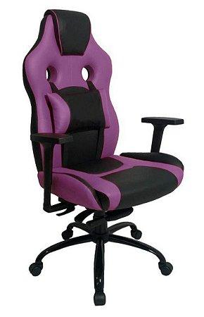 Cadeira Gamer com Almofada Linha Gamer Racing Roxo