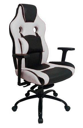 Cadeira Gamer com Almofada Linha Gamer Racing Branco