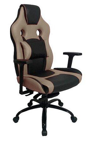 Cadeira Gamer com Almofada Linha Gamer Racing Bege
