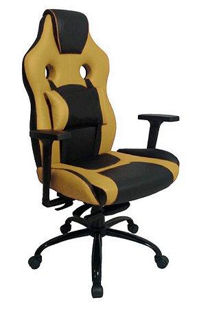 Cadeira Gamer com Almofada Linha Gamer Racing Amarelo