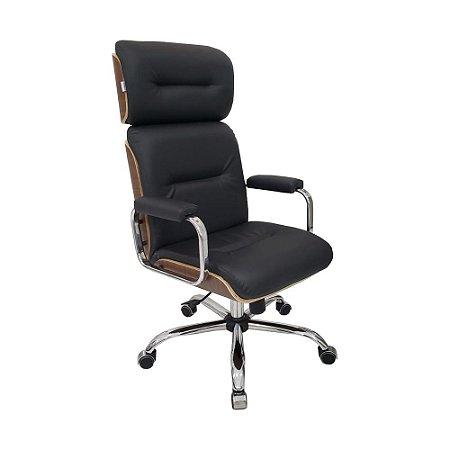 Cadeira Eames Presidente Linha Capa em Madeira Preto Cromada
