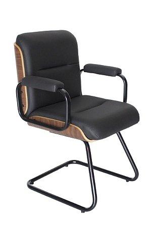 Cadeira Eames Diretor Fixa Linha Capa em Madeira Preto