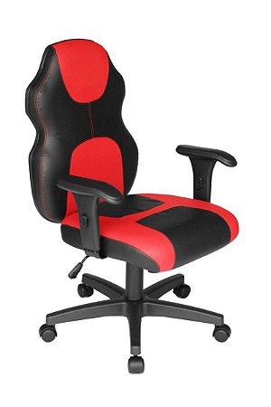 Cadeira Gamer Base com braço Linha Gamer Racing Vermelho