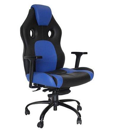 Poltrona Gamer Giratória com braço Linha Gamer Racing Azul
