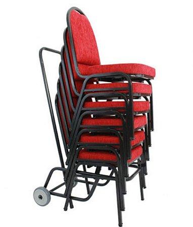 Kit com 6 Cadeiras Empilháveis para Auditórios Linha Hotel Vermelho