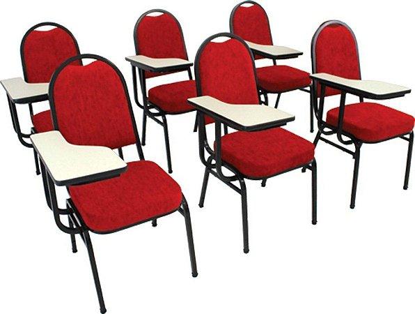 kit com 6 Cadeiras Universitária p Auditórios Linha Hotel Vermelho