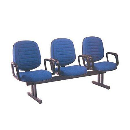 Cadeira Diretor em Longarina com 3 lugares Linha Blenda Azul