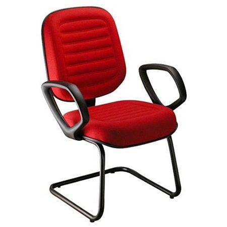 Cadeira Diretor Com Braços Linha Blenda Base Fixa em S Vermelho