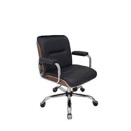 Cadeira Eames Diretor Linha Capa em Madeira Cromado Preto