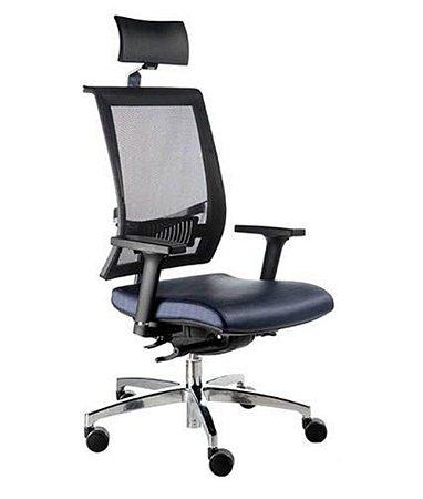 Cadeira Presidente com encosto Tela Mesh Linha Net Design Preto