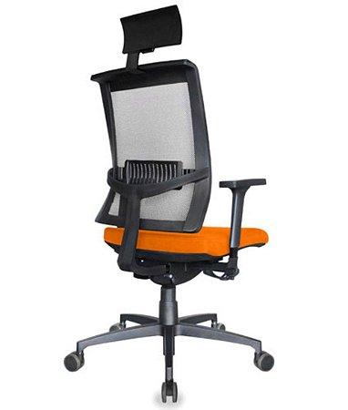 Cadeira Presidente com encosto Tela Mesh Linha Net Design Laranja