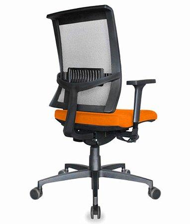 Cadeira Diretor com encosto Tela Mesh Linha Net Design Laranja