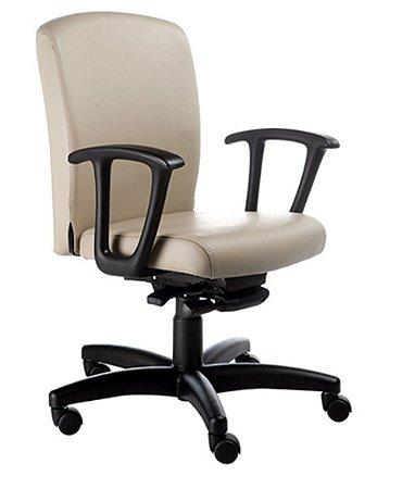 Cadeira Diretor Luxuosa com Braços Fixos Linha Alpha Bege