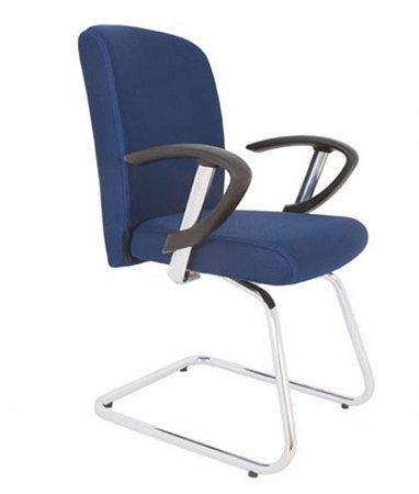 Cadeira Diretor Luxuosa com Base em S cromado Linha Alpha Azul