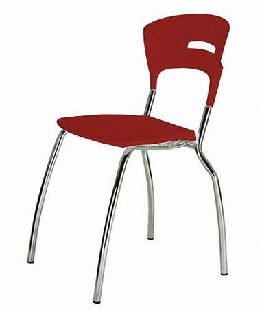 Cadeira em Polipropileno Linha Banqueta Escritório Candy Vermelho