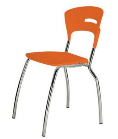 Cadeira em Polipropileno Linha Banqueta Escritório Candy Laranja