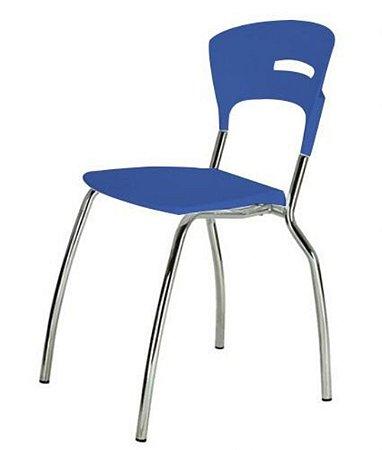 Cadeira em Polipropileno Linha Banqueta Escritório Candy Azul