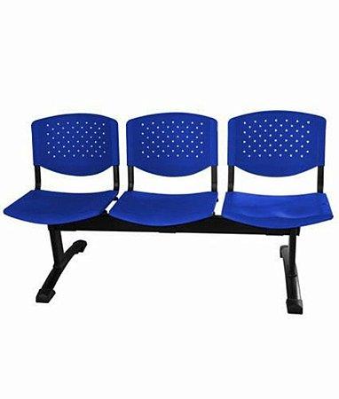 Cadeira em longarina 3 lugares Linha Polipropileno Atenas Azul