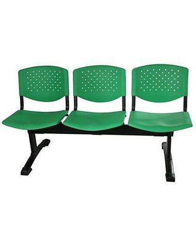 Cadeira em longarina 3 lugares Linha Polipropileno Atenas Verde