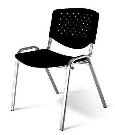 Cadeira Empilhável Linha Polipropileno Atenas Preto