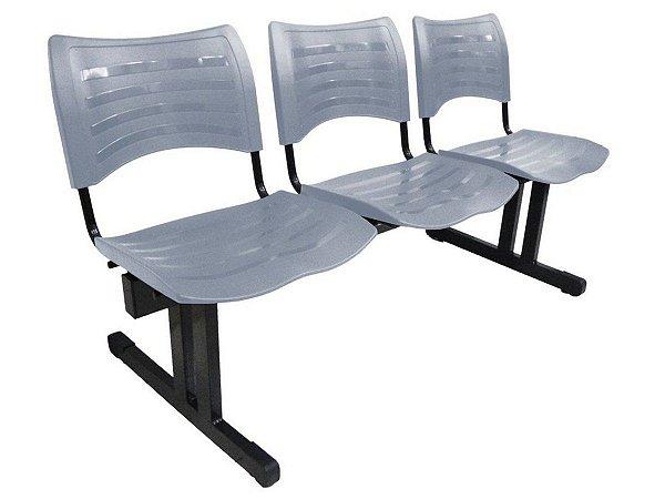 Cadeira Iso em longarina 3 lugares Linha Polipropileno Iso Cinza