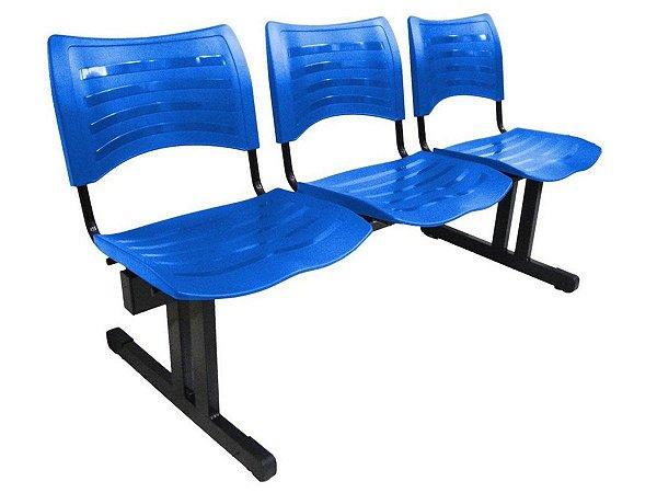 Cadeira Iso em longarina 3 lugares Linha Polipropileno Iso Azul