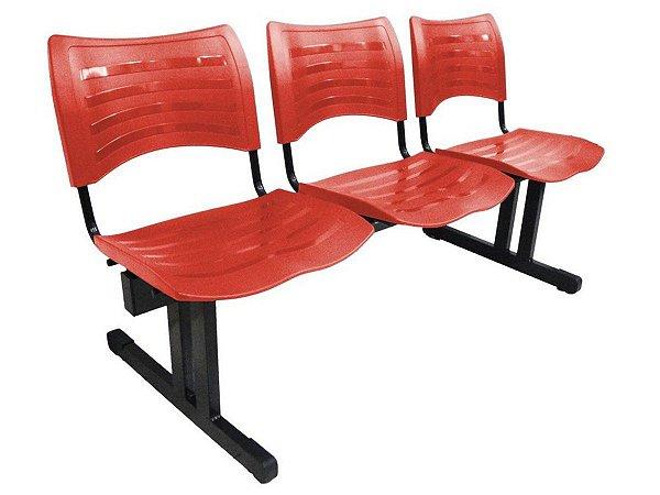 Cadeira Iso em longarina 3 lugares Linha Polipropileno Iso  Cor Vermelho