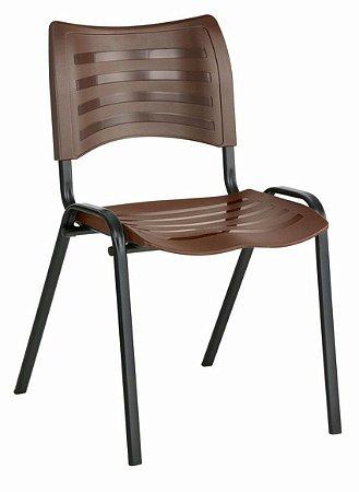 Cadeira Empilhável Iso Linha Polipropileno Iso Marrom
