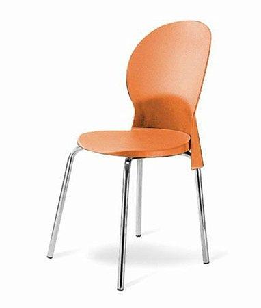 Cadeira Base Cromada Linha Polipropileno Milano Laranja