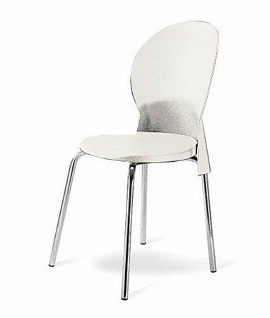 Cadeira Base Cromada Linha Polipropileno Milano Branco