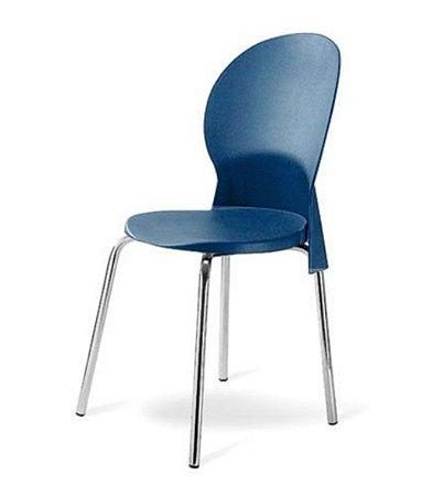 Cadeira Base Cromada Linha Polipropileno Milano Azul