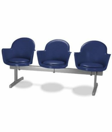 Cadeira em longarina 3 lugares Linha Polipropileno Moon Azul