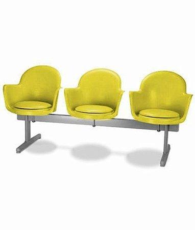 Cadeira em longarina 3 lugares Linha Polipropileno Moon Amarelo