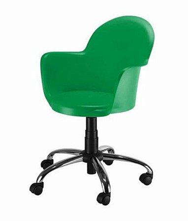 Cadeira Giratória Base Cromada Linha Polipropileno Moon Verde