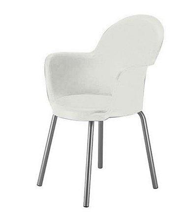 Cadeira com Braço Base Cromada Linha Polipropileno Moon Branco