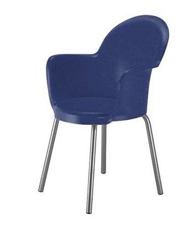 Cadeira com Braço Base Cromada Linha Polipropileno Moon Azul